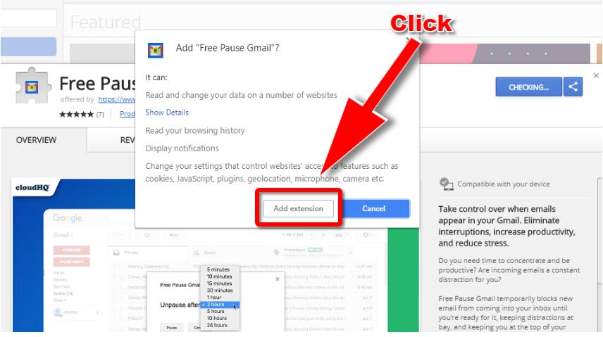 Pause Gmail Chrome Store