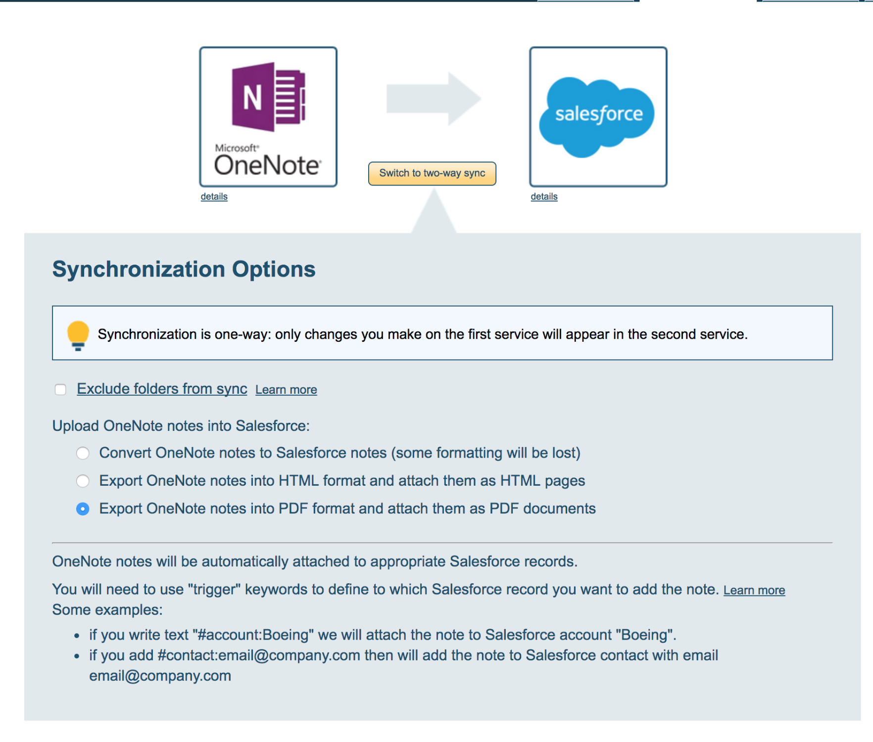 How to integrate OneNote with Salesforce (single user) – cloudHQ Support