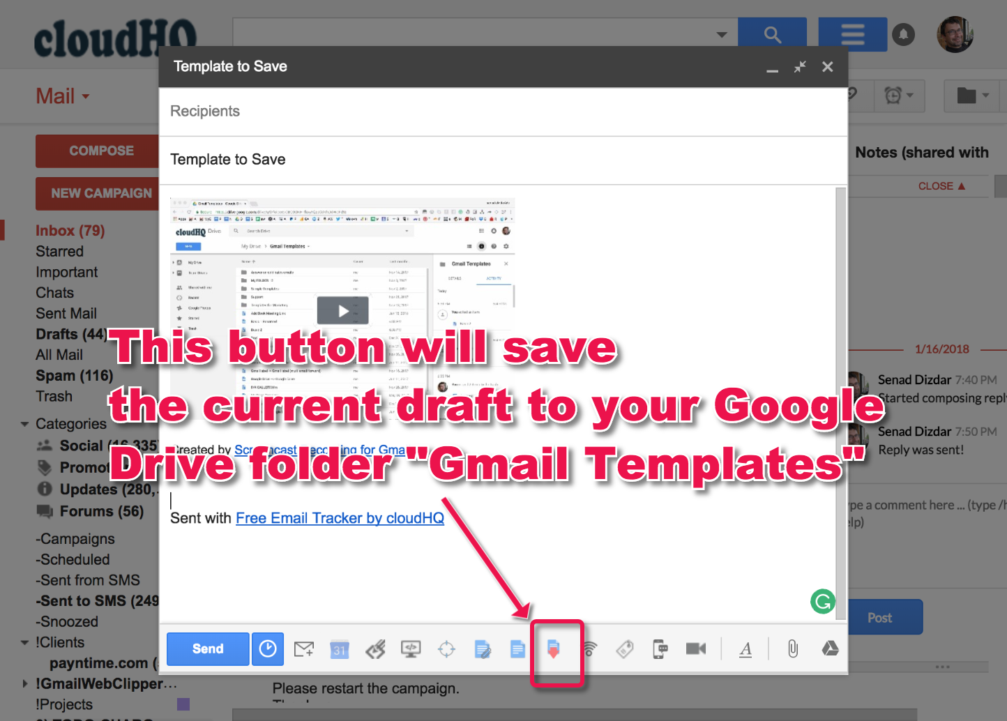 what is gmail templates folder cloudhq support