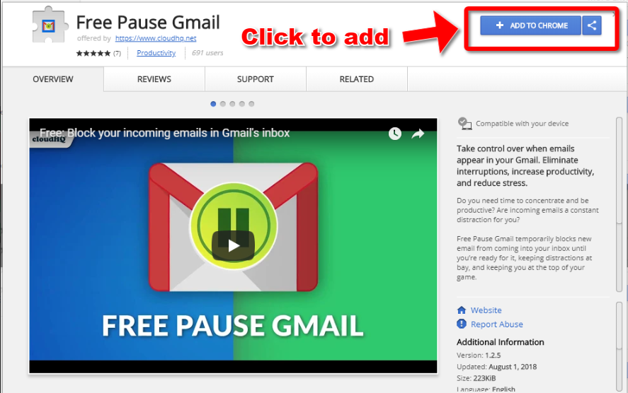 Pause Gmail Chrome Store