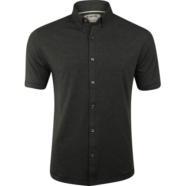 Linksoul Performance Heathered Cotton Blend Button Up Shirt Apparel