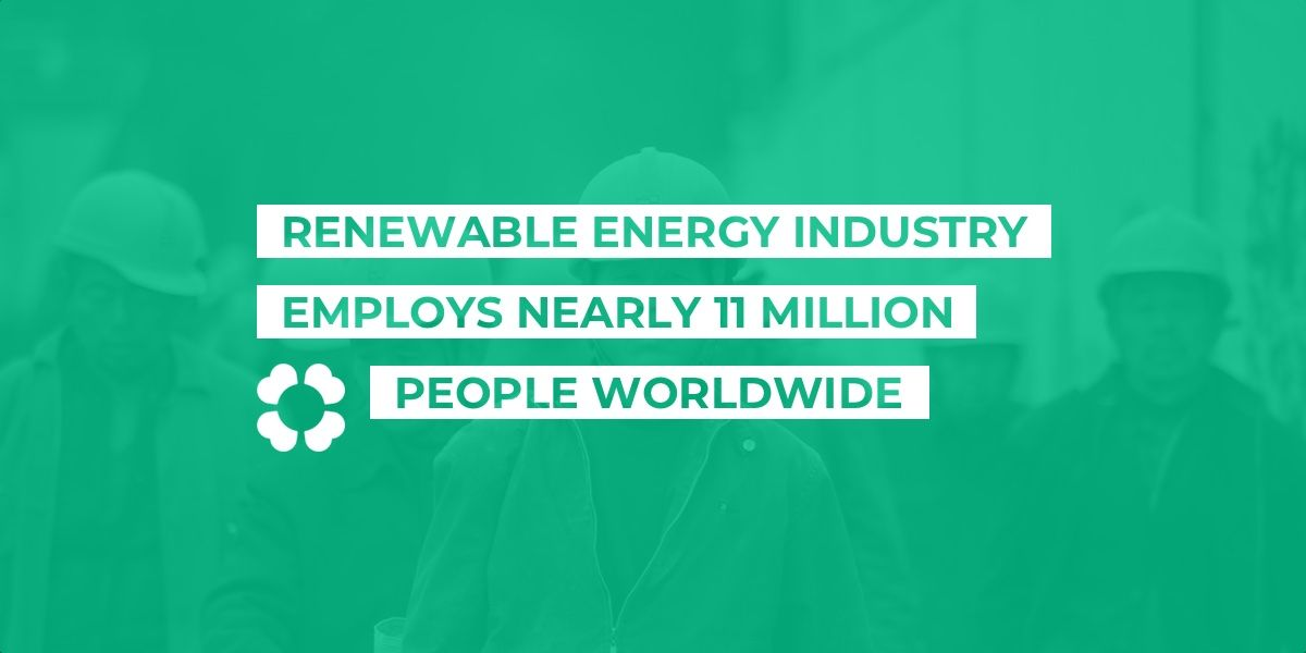 Renewable energy industry employs nearly 11 million people worldwide