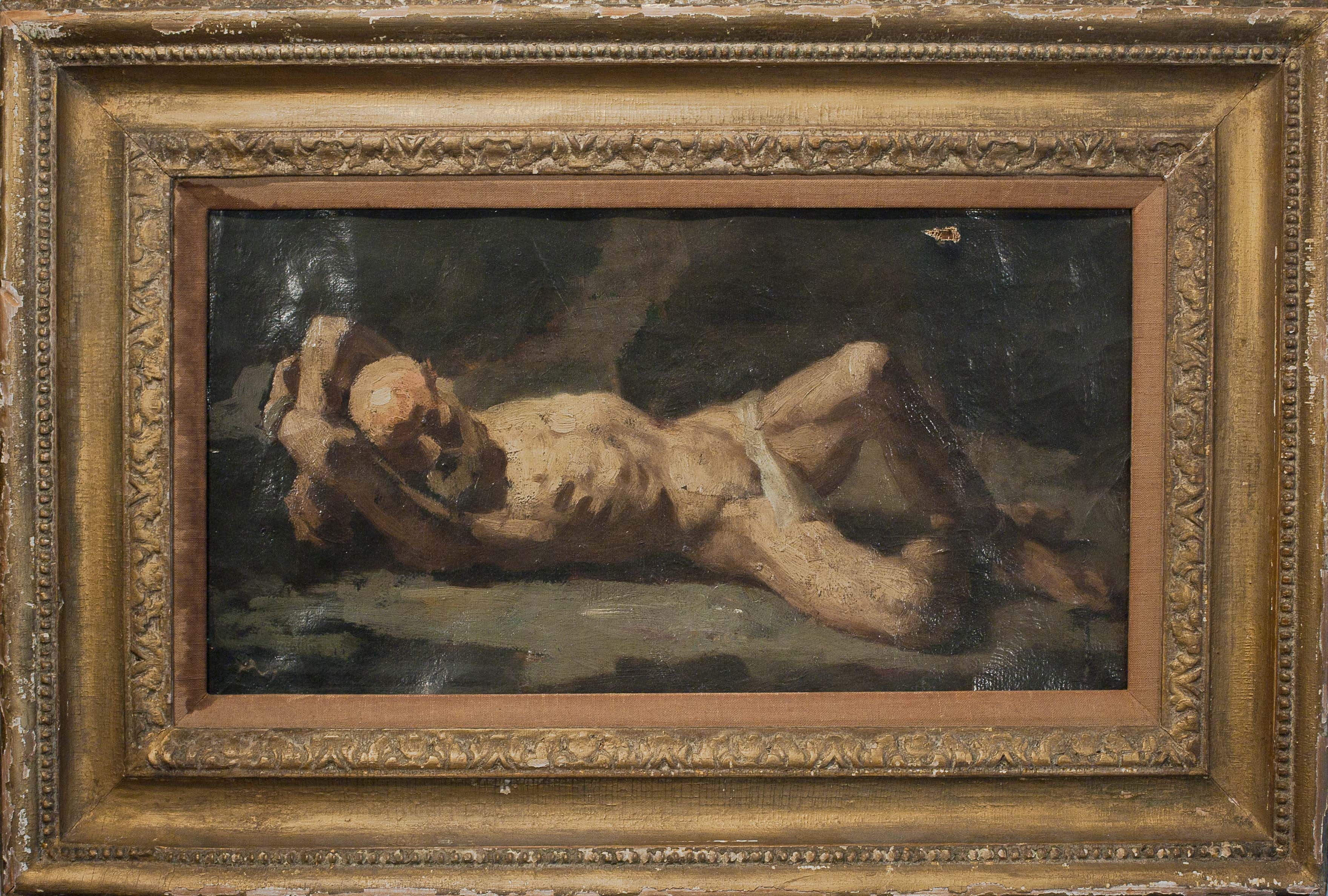 Old Man by Unknown. Oil on canvas. 10.0 in x 17.0 in. 1850