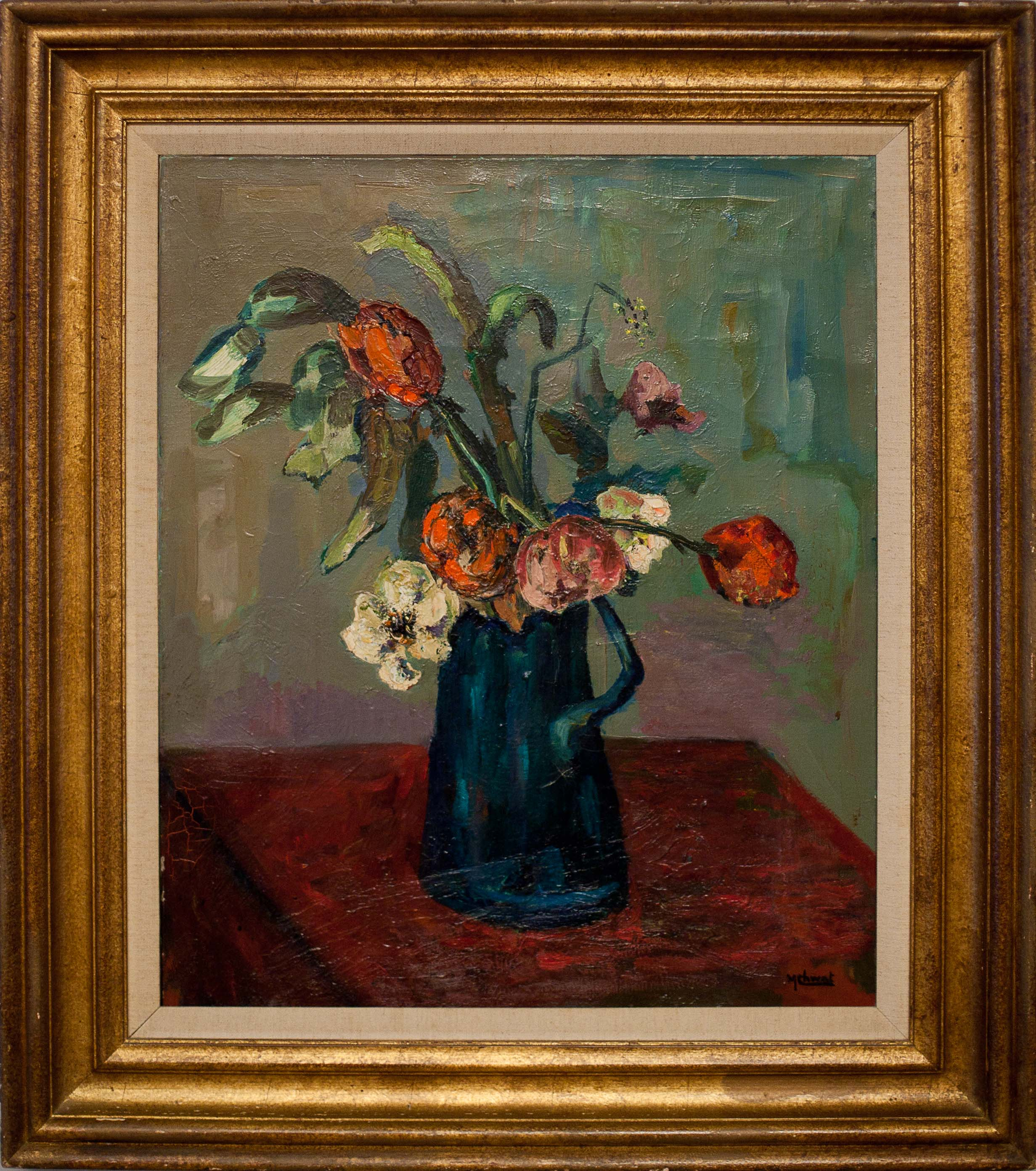 Tulips by Morris Chwat. oil on canvas. 23.0 in x 19.0 in. 1956