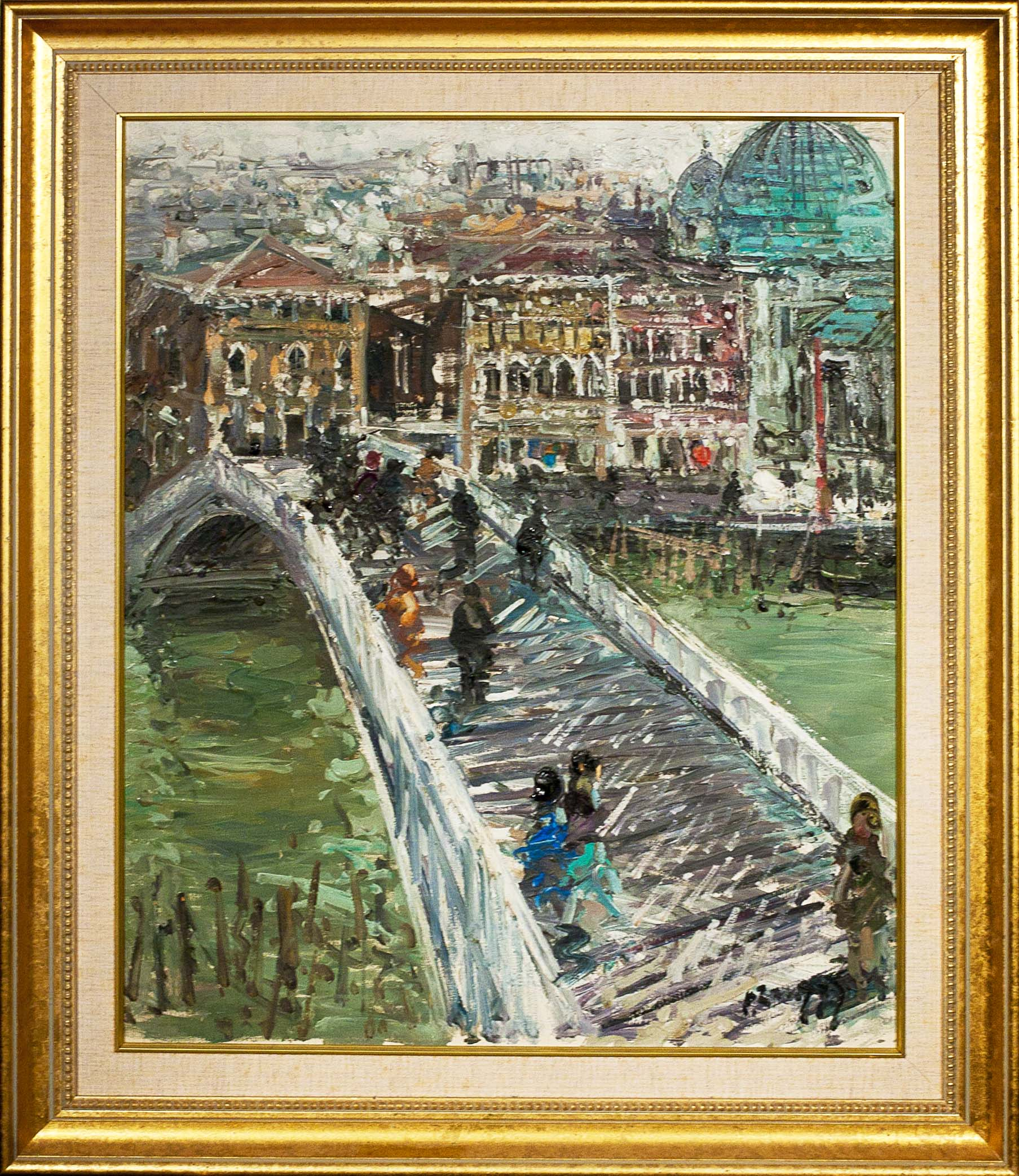 Bridge in Venice by Dino Zampogna. Oil on canvas. 20.0 in x 24.0 in. 1926