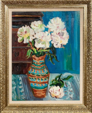 flowers by Jacob Koslowsky. oil on canvas. 18.0 in x 24.0 in. 1965