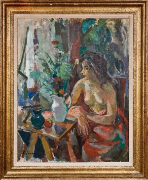 A woman in the window by Bilini. Oil on canvas. 35.0 in x 27.0 in. 00