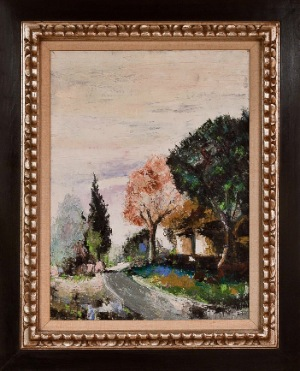 Landscape by Mori. Oil on canvas. 17.0 in x 24.0 in. 1963