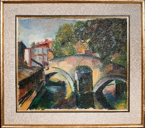 view of the bridge by Jacob Koslowsky. oil on canvas. 23.0 in x 19.0 in. 1965