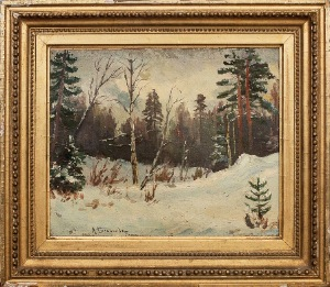 winer forest by A.Stepanov. oll on board. 10.0 in x 9.0 in. 1921