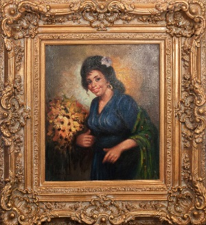 a happy woman by E. Maldefasi. oil on canvas. 20.0 in x 24.0 in. 1955
