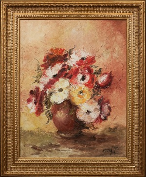 FLOWERS by Z.Gilt. oil on canvas. 22.0 in x 27.0 in. 1953