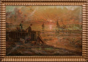 ocenview by R.Vannini. Oil on canvas. 34.0 in x 23.0 in. 1962