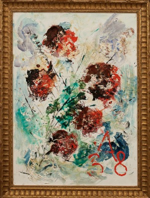 Flowers by Anatoly Zverev. oil on canvas. 19.0 in x 27.0 in. 1974