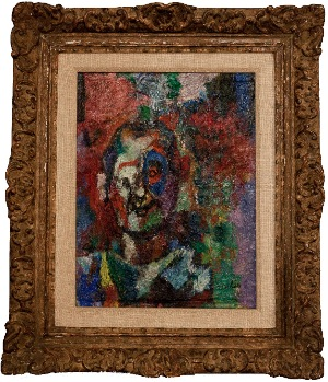 head of a man by Isaac Pailes. oil on canvas. 12.0 in x 15.0 in. 1985