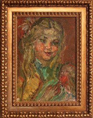 Portret of a girl by Michael Kikoin. oil on canvas. 12.0 in x 17.0 in. 1957