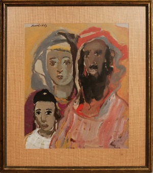 Jewish Family by Mane Katz.  gouage. 19.0 in x 23.0 in. 1962