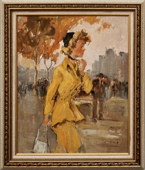 Woman in yelow by Pier Dumant. Oil on canvas. 15.0 in x 19.0 in. 1988