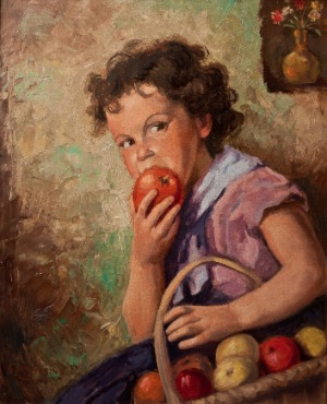 Child with an apple by J.Dimartini. Oil on canvas. 20.0 in x 24.0 in. 00