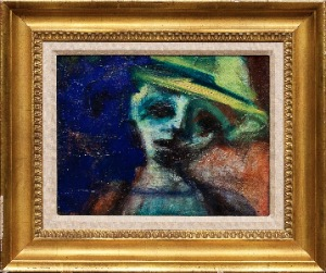 A woman in a hat by Bernard Damiano. Oil on canvas. 13.0 in x 10.0 in. 1962
