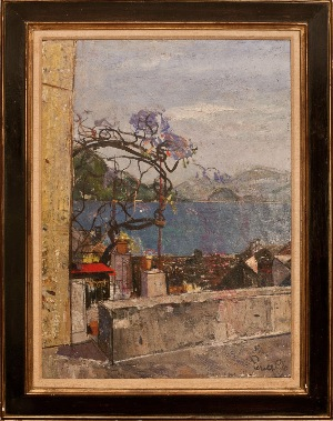 City view by G.Perelli  Cippo. Oil on canvas. 23.0 in x 32.0 in. 1962