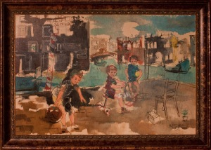 Playing Children by A. Flora. Oil on canvas. 36.0 in x 24.0 in. 1964