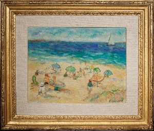 On the Beach by B.Lainere . Oil on canvas. 17.0 in x 14.0 in. 1965