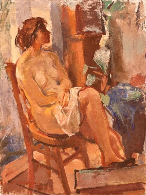 Sitting nude by Giovanni Ballansimo. Oil on canvas. 24.0 in x 32.0 in. 1962