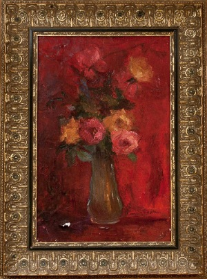 Flowers by A.Spinneli. Oil on canvas. 15.0 in x 23.0 in. 1965