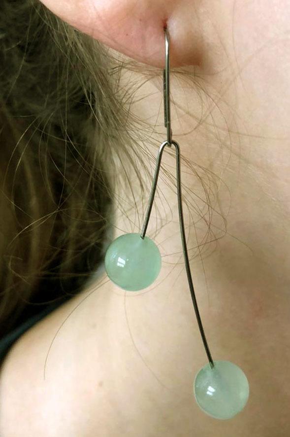 Brinco Jade Verde Claro 10 mm