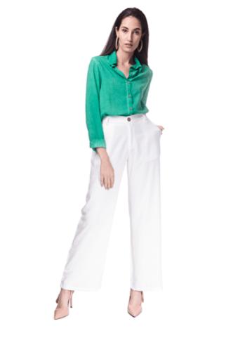 Calça Alfaiataria Pantalona Youth - Branca