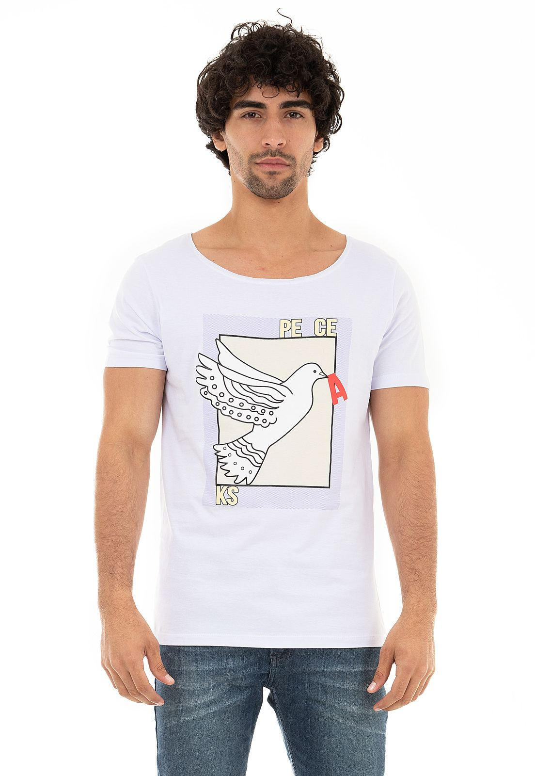 Camiseta Gola Canoa Peace KSA da árvore - Branca