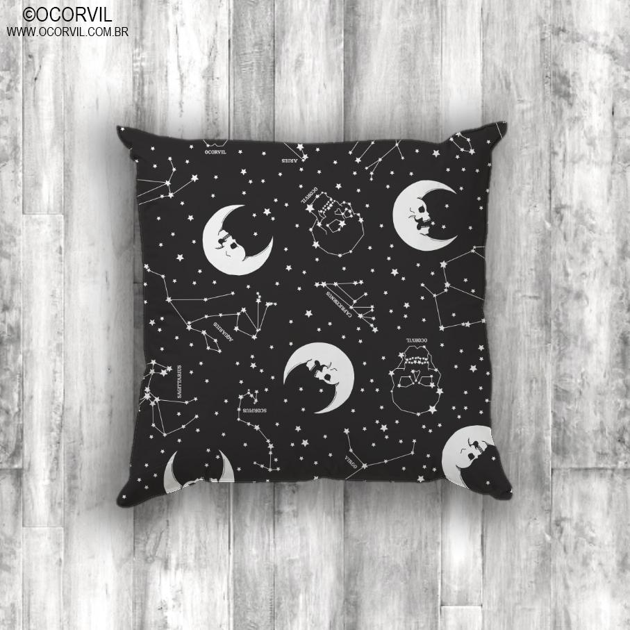 Capa De Almofada De Lua Caveira E Estrelas