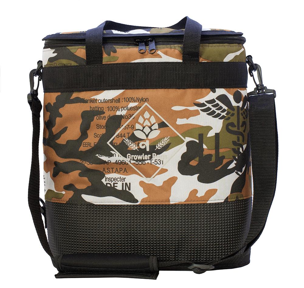 Growler Bag Double camuflada militar - Bolsa Térmica grande p/growler