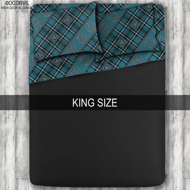 Jogo De Lençol De Caveira Xadrez Celta Azul Preto King Size