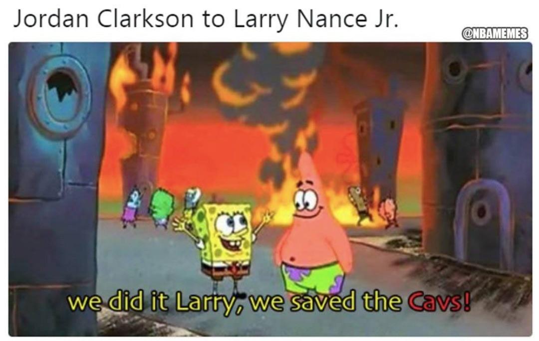 Jordan Clarkson & Larry Nance Jr. right now. #Cavs