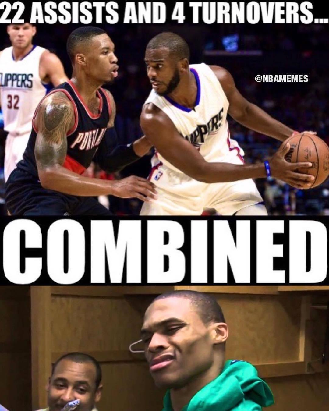 Westbrook looking at CP3 + Lillard's stat line like... ... #russell #westbrook #chris #paul #cp3 #damianlillard #dame #lillard #assist #turnover #nba #meme #memes #nbamemes
