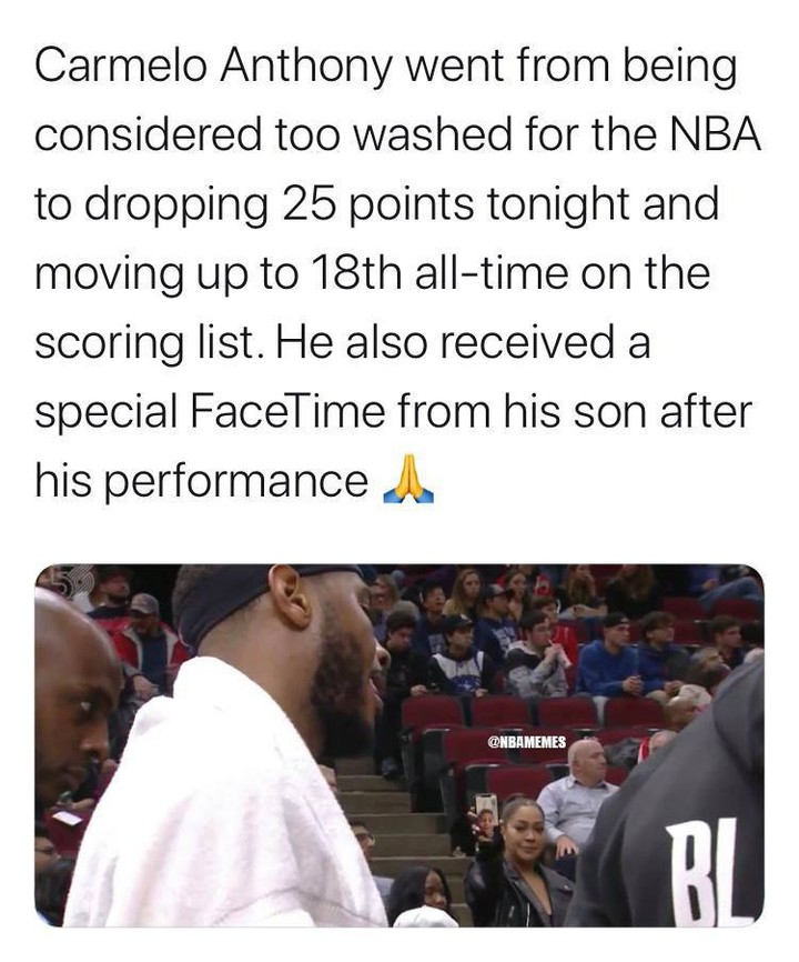 [VIDEO] Carmelo Anthony's on-court FaceTime with son after 25-point game: (Full story in link in bio)  #nba #nbamemes #carmeloanthony #blazersnation #basketball