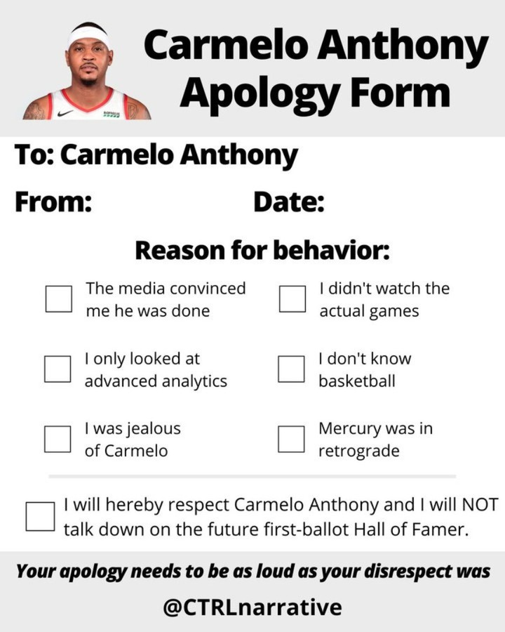 Carmelo Anthony reacts to reception on his home debut: (Full story in link in bio)  #nba #nbamemes #memes #basketball #blazersnation #portlandtrailblazers #melo #carmeloanthony