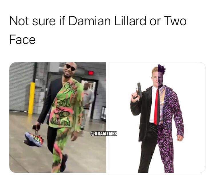 Damian Lillard's outfit tonight is outrageous 😂  #nba #nbamemes #memes #damianlillard #lillardtime #twoface #blazersnation