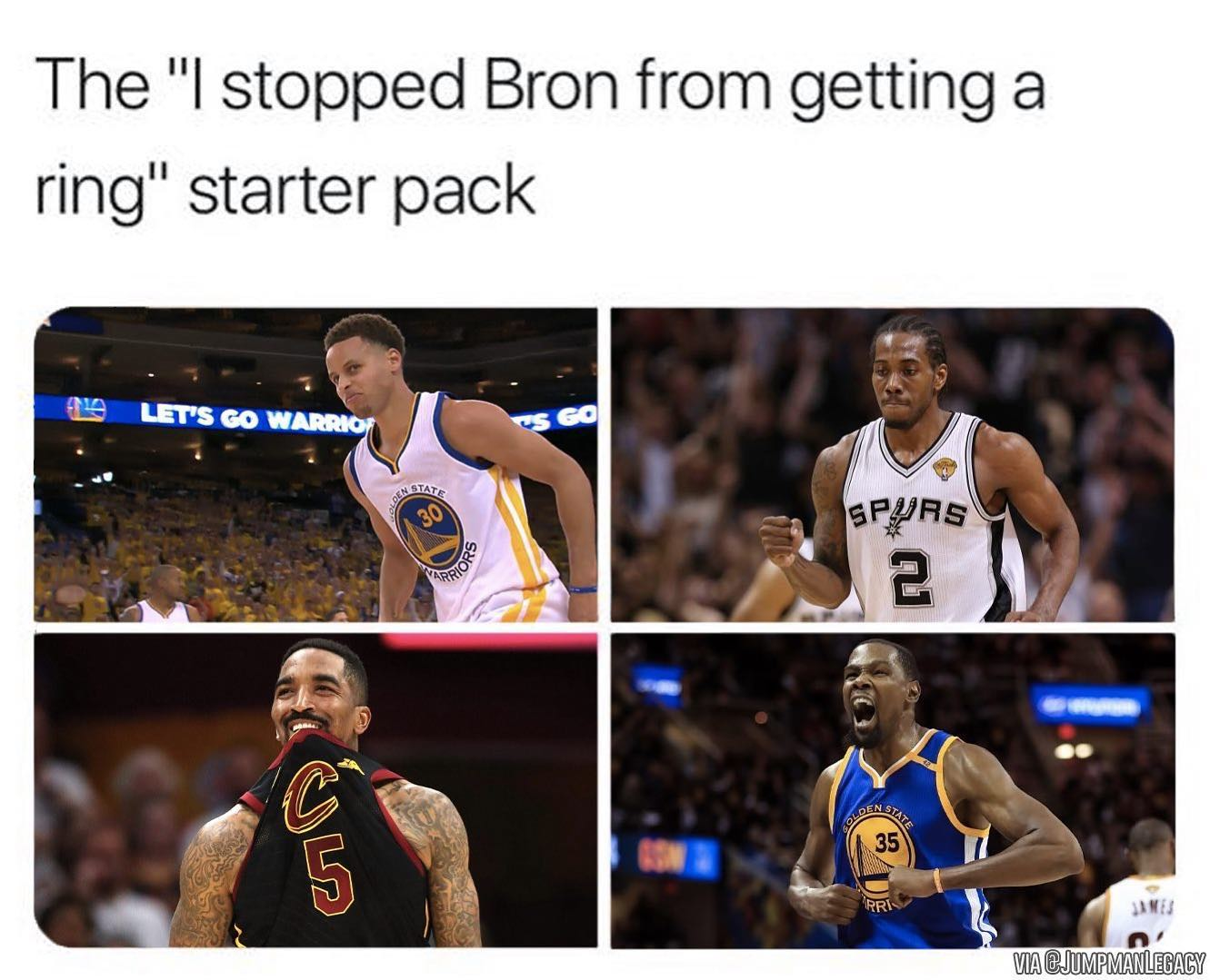 All of these players stopped LeBron from a Championship 😂 — #nba #nbamemes #memes #bball #hoops #basketball #nbafinals #ring #lebronjames #jrsmith #stephcurry #kawhileonard #kevindurant #cavs #warriors #spurs