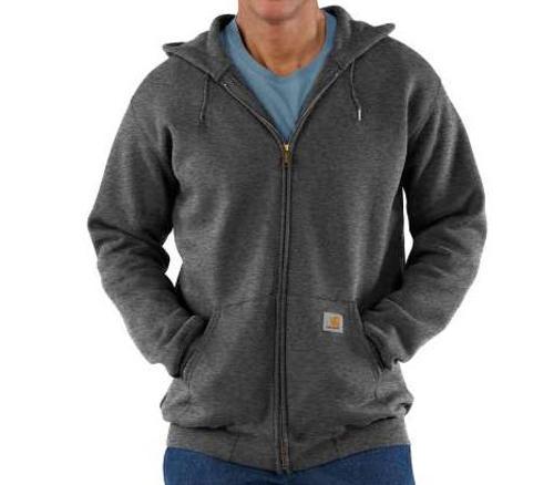 Carhartt Midweight Hooded Zip-Front Coal Sweatshirt - 2 XL