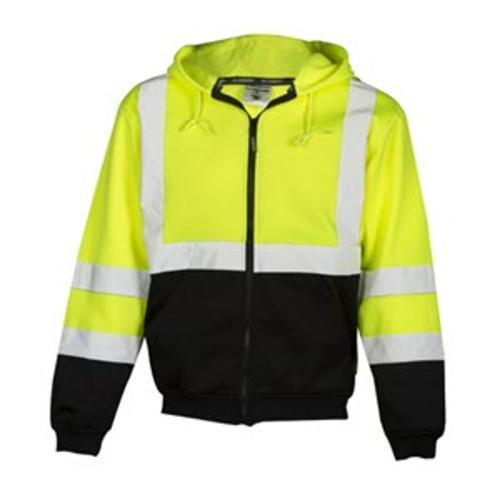 Kishigo Hoodie Sweatshirt w/ Zipper / Lime - 2 XL