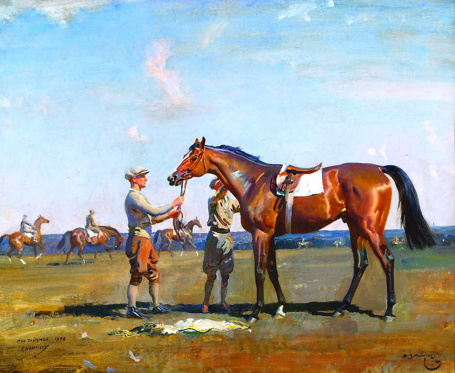 MON TALISMAN, CHANTILLY, 1928 by Sir Alfred James Munnings