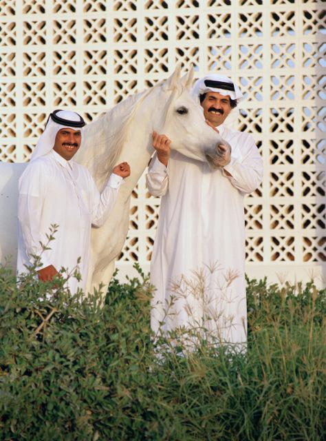 His Highness Sheikh Hamad bin Khalifa Al Thani, The Emir of the State of Qatar, and Sheikh Hamad...Al Shaqab archival photo furnished by Judith Forbis