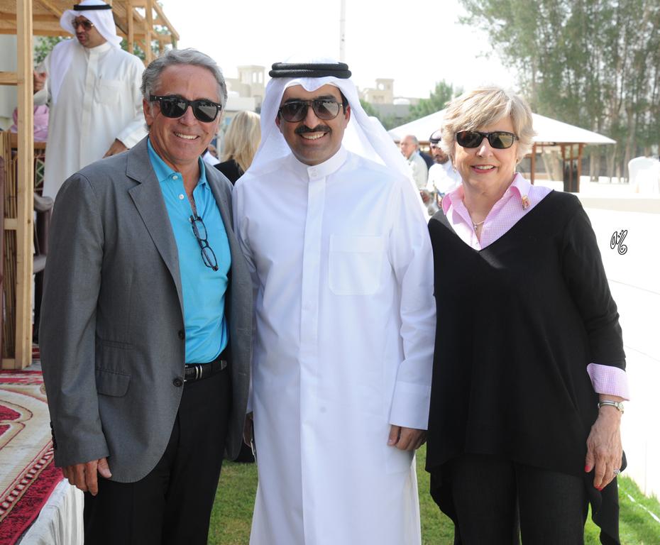 At the 2016 Al Rayyan Presentation of Horses: Michael Byatt, Mohammed J. Al Marzouk and Anna Bishop...photo by Lisa Abraham