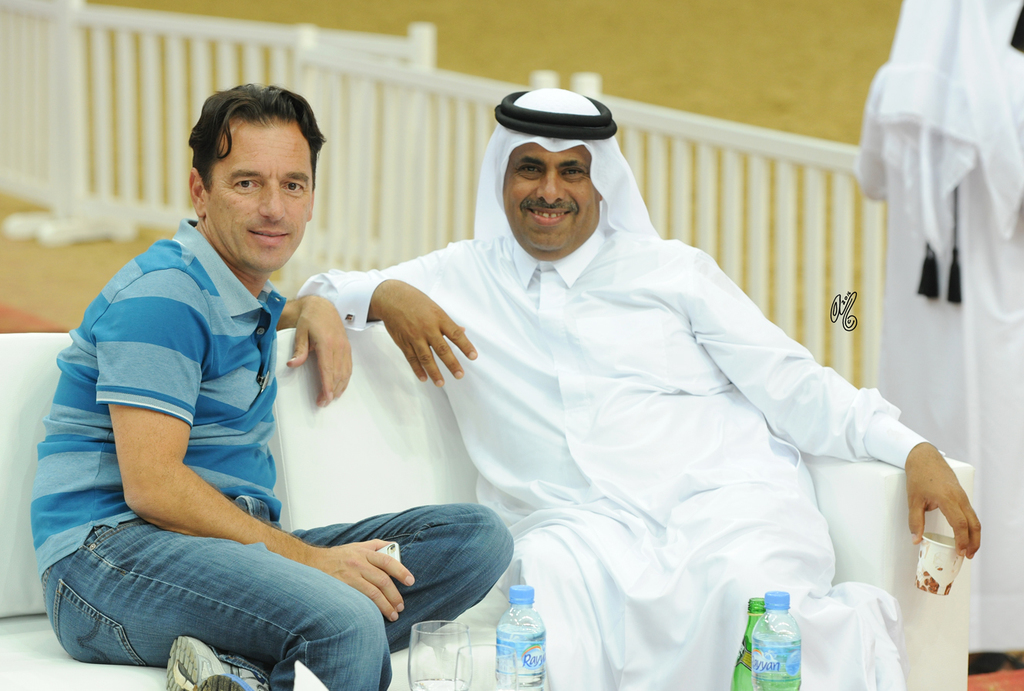 2016 Qatar International Arabian Horse Show: Scott Bailey and Sheikh Hamad...photo by Lisa Abraham