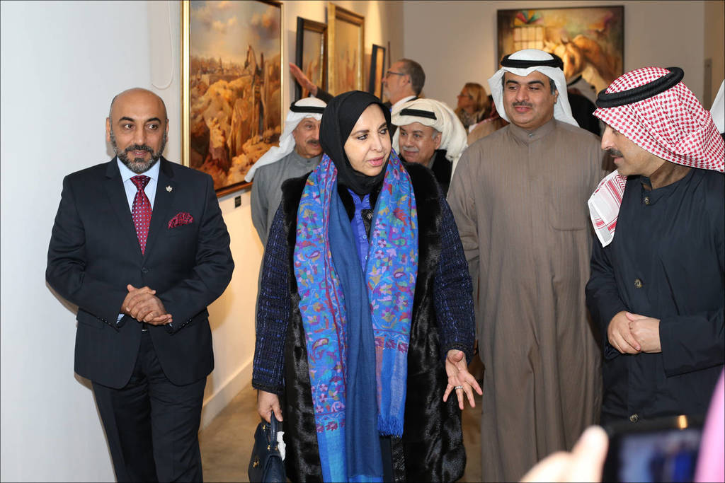 Ali Almimar's 2017 exhibition at Bait Al Arab (KWT)...(l-to-r) Ali Almimar, Sheikha Dr. Souad Al Mubarak Al Sabah (the official sponsor of the Exhibition), Ala'a Hamad Al Roumi, (Chairman of the Board of Trustees at Bait Al Arab) and Mr. Mohammed Al Marzouq