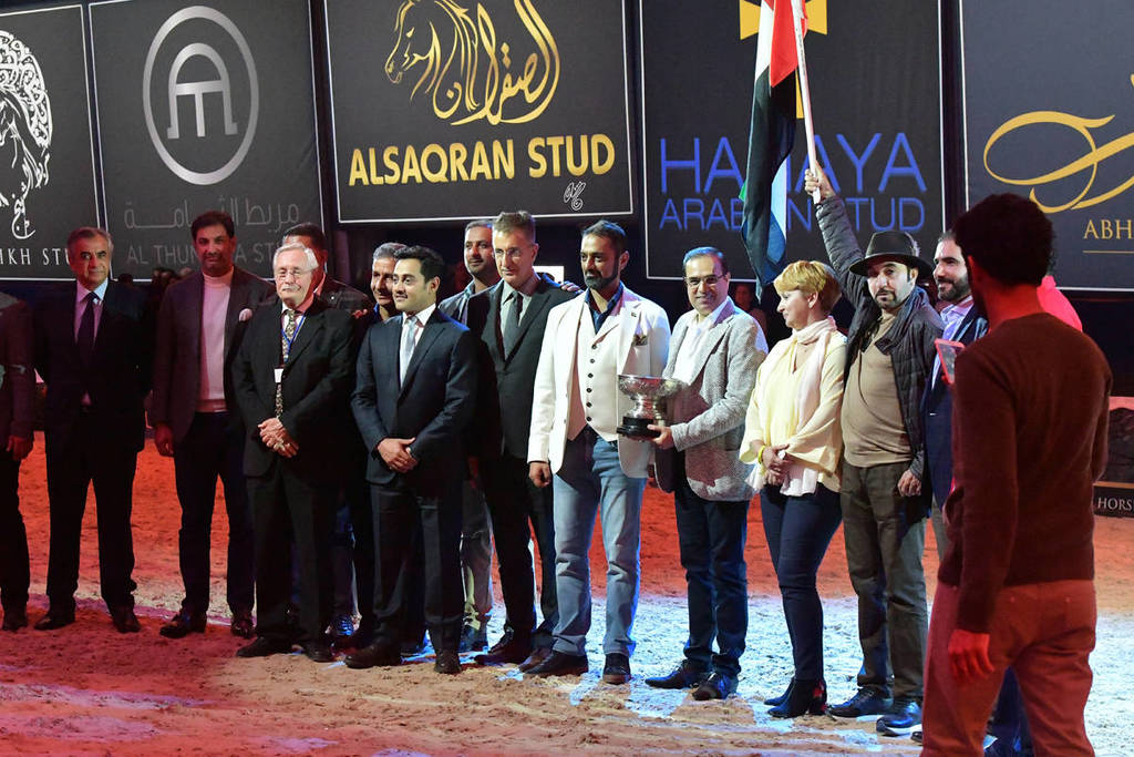 The United Arab Emirates were the winners of the Ian Hedley Memorial Trophy: The All Nations Cup Breeders Trophy; and the Lady Harmsworh Blunt Memorial Trophy: The Nations Cup.