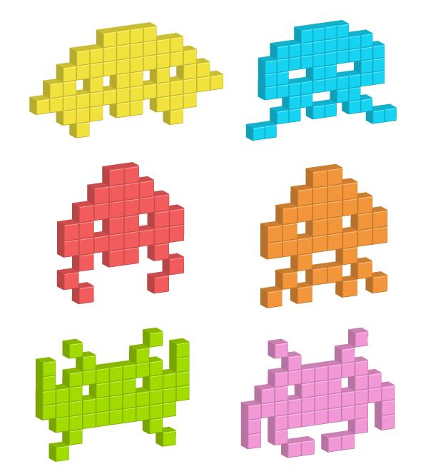 Render A Simple 3D Pixel Space Invaders In Adobe